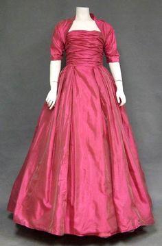 Ball Gown and Matching Bolero, Harry Keiser: ca. 1950's, iridescent organdy, bodice is boned.