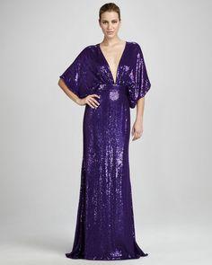ShopStyle: Naeem KhanSequined Kimono Gown