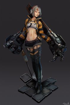 ArtStation - Girl with robo arms - model, Saimon Ma