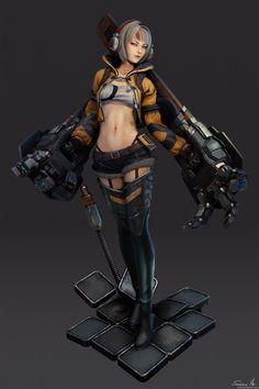 ArtStation - Girl with robo arms - model, Saimon Ma