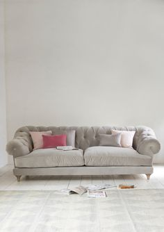 """ we all cried when we made our first comfy Bagsie sofa. Our very own version of the classic Chesterfield, this deep-buttoned beauty is one sumptuous sofa. My Living Room, Home And Living, Living Room Decor, Home Decor Furniture, Home Furnishings, Cottage Furniture, Furniture Vintage, Living Room Inspiration, Table"