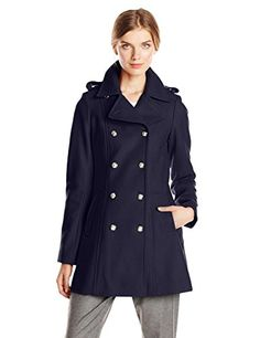 Via Spiga Womens Double Breasted Military Wool Coat with Gold Buttons Navy 8 >>> Details can be found by clicking on the image. (This is an affiliate link) Pea Coats Women, Winter Coats Women, Military Style Coats, Double Breasted Coat, Military Fashion, Wool Coat, Fashion Outfits, Fashion Trends, Women's Fashion
