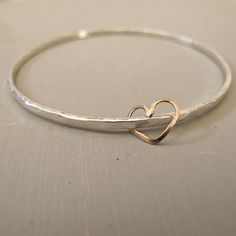 Bridesmaid Gift Initial and Heart Bracelet Personalized Bridesmaid Jewelry Silver Rose Gold Gold Wedding Jewelry Bridesmaid Bracelet Hammered silver bangle with rose gold heart/ Mother's day gift / heart charm / anniversary gift / bridesmaid gift – The Bangles, Silver Bangles, Sterling Silver Jewelry, Silver Earrings, Stud Earrings, Bracelet Initial, Heart Bracelet, Initial Jewelry, Nameplate Necklace