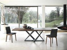 Stół rozkładany do jadalni o nowoczesnej geometrycznej podstawie z blatem z drewna lub z hartowanego szkła