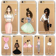Mobile Phone Bag Case For iPhone 7 6 6s 4.7inch Case Fashion Cartoon Modern Dress Shopping Girl Transparent Soft TPU Cover