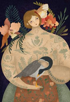 Illustration by Amalia Restrepo / 7751 Illustration Artists, Cute Illustration, Digital Illustration, Savannah, Bloom Book, The Wild Geese, Large Art, Lady, Whimsical