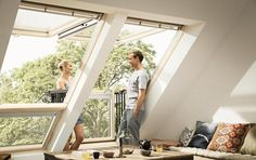 The VELUX CABRIO balcony window fits snugly to the roof when closed but, with a surprisingly gentle push, it becomes a Juliet-style balcony in seconds. It's that easy!