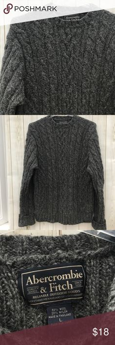 """Abercrombie & Fitch Cable Sweater Pre-loved and still in good shape. Men's size L. Close up pics shows little rust colored bits of yarn woven throughout. 80% Wool, 20% nylon. Shoulder to hem: 26"""" outer sleeve:  27"""" folded up, pit to pit: 21"""". SW7 Abercrombie & Fitch Sweaters Crewneck"""