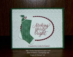 Hang Your Stocking stamp set and coordinating framelits, teamed up with the Cable Knit Embossing folder and Tin of Tags stamp set for the greeting.  Full details can be found on my blog: http://lindasstampinescape.com
