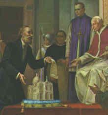 Blessed Bartolo Longo presenting shrine of Our Lady of Pompeii to Pope Leo XIII, Feb 19, 1894 ~ The image was first placed in the small, restored chapel in 1875, but plans were made to build a large church worthy of Our Lady of the Rosary.  Three hundred people of the area pledged a penny a month for Our Lady's work.  The cornerstone laying was held on May 8, 1876.  Within the month, miraculous events began to take place at the shrine.  Four healings were recorded.  From that time on…