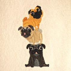 Pug Bathroom Hand Towel, Terry Towel, Personalized Gift, Embroidered gift, Custom Embroidery, Bathroom Decor, Tea Towel, Flour Sack Towel by HoundStreetBoutique on Etsy