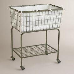 Ellie Rolling Laundry Cart | World Market