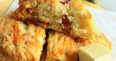 This classic scone gets a savory twist with crumbled bacon and cheddar cheese - the perfect breakfast on the go!             If you've neve... Cheddar Cheese, Breakfast Recipes, Scone Recipes, Breakfast Ideas, Dessert Recipes, Desserts, Savory Scones, Perfect Breakfast, Cheddar