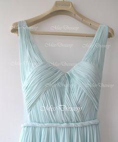 A Line Straps V Neck Floor Length Chiffon Sky Blue Wedding Party Dress, Prom Dress, Evening Dress, Formal Gown