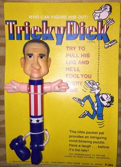 1972 Tricky Dick Richard Nixon pull toy poynter products MOC