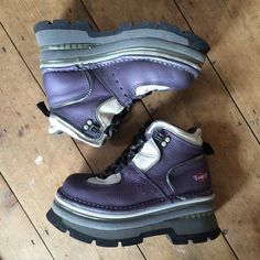 "Super amazing vintage The Art Company chunky 90s spice girls boots in dark purple | bought these off here recently and love them but they're too big for me | great condition, size 5 | 3"" heal and 2"" platform"