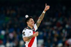 MADRID SPAIN DECEMBER 09: Enzo Perez of River Plate acknowledges the fans following his side's victory in the second leg of the final match of