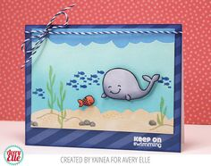 Avery Elle Swim Team Keep on swimming Whale card by Yainea.