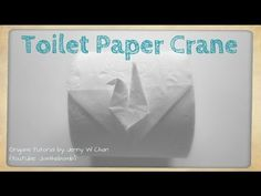 In this tutorial, I'll show you how to make an origami crane, or origami bird, out of toilet paper! This DIY toilet paper origami crane will surprise your gu. Toilet Paper Origami, Paper Origami Flowers, Origami Leaves, Toilet Paper Art, Origami Lamp, Toilet Paper Roll Crafts, Origami Folding, Paper Crafts, Paper Folding Machine