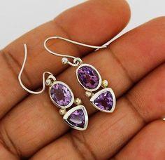 amethyst earrings solid silver 925 Sterling  jewelry natural gemstone handmade
