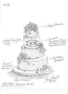 Dodds Custom Wedding Cake Sketch