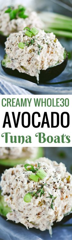 5 minute Whole30 lunch on the go! creamy chicken/ tuna avocado boats- topped with fresh herbs and SO healthy and easy!