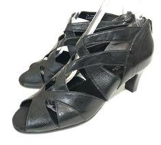 337d57393daf Aerosoles Black Heels Womens Size 7 M Faux Leather Strappy Zip Sandals Open  Toe  Aerosoles