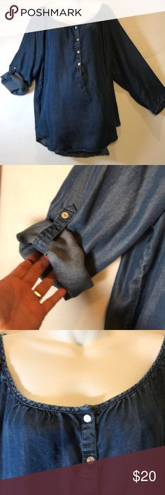 """Demon chambray peasant top Silky feel, drapes beautifully. Long sleeves or 3/4 with button lapel to keep hem there.  T-shit tail.  24 1/2 """" Armpit to armpit. Top of shoulder to longest point on hem: 30 1/2"""". Tops Blouses"""