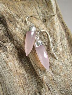 Rose Quartz Earrings Quartz Points 14K Gold Fill by julianneblumlo