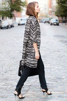 Coat (print/texture and sleeves), shoes, and skinny pants