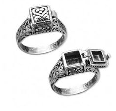 sterling+box | Sterling Silver Scrollwork Prayer Box Ring Size 6 from Jewelry Trinket ...