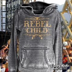 Rebel Child Hoodie S-XXL Country Junkie hoodies from Cowgirl Blondie's Western Boutique will be your favorite cool weather gear.