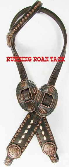 Chocolate SHORT GAG Headstall with White Buckstitch and Copper Indian Chief Conchos by Running Roan Tack