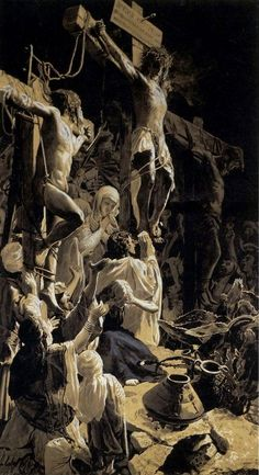 """Wojciech Piechowski oil painting """"Crucifixion"""" of painting makes me think of the crucifixions of the Holocaust during WWII. Religious Images, Religious Art, Religion, Crucifixion Of Jesus, Christian Artwork, Jesus Art, Biblical Art, Catholic Art, Roman Catholic"""