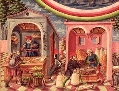Ms Lat 209 Jupiter, detail of fruit and grain merchants, from 'De Sphaera', (vellum) (detail of Medieval Market, Medieval Life, Medieval Books, History Images, Art History, Vikings, Book Of Hours, Medieval Manuscript, Renaissance Art