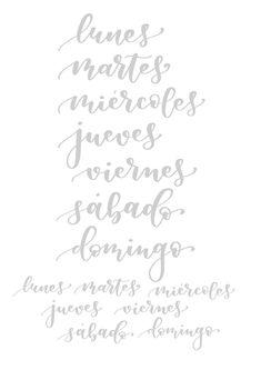 Plantillas de lettering gratuitas para imprimir y practicar bonitas formas de escribir los días de la semana en tus bullet journals, agendas y tarjetas