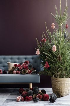 Christmas in red clay, dusty pink, thyme, dove and brown