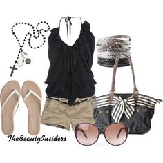 For the edgier woman: a black flowing halter top, paired with khaki short shorts, a thin brown belt, and simple slip ons. Topping off this look: a cute leather bag with a faded striped bow, oval shaped sunglasses, a rosary necklace, and silver and black bangles.