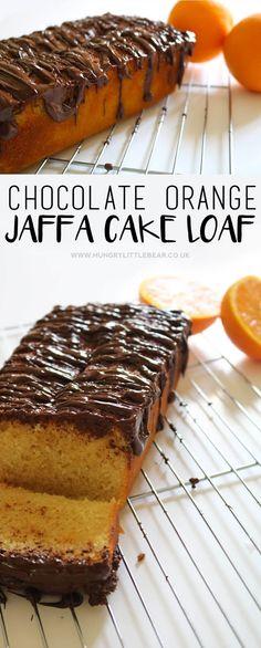 Chocolate Orange Jaffa Cake Loaf Hungry Little Bear Cake Recipes Uk, Sponge Cake Recipes, Homemade Cake Recipes, Sweet Recipes, Dessert Recipes, Loaf Tin Recipes, Baking Recipes Uk, Orange Recipes, Gastronomia