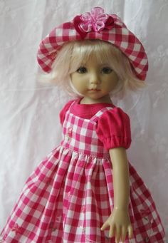 "Gingham Rose OOAK Ensemble  for Effner 13"" Little Darling ~ by Gloria"