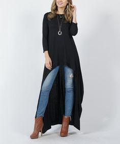 Black Crewneck Three-Quarter Sleeve High-Low Tunic - Women & Plus Tunic Designs, Quarter Sleeve, Hemline, High Low, Duster Coat, Dress Up, Crew Neck, Drama, My Style
