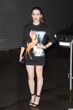 Lily Collings wearing a Bambi sweatshirt as a dress? Rock on, sister.