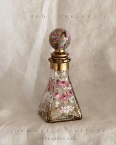 My Shabby French Romantic Roses Perfume Bottle is just the prettiest! Available at www.debicoules.com Each one is one of a kind!
