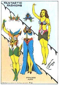 Fantastic Fashions - Princess Aura. Flash Gordon paper dolls illustrated by Alex Raymond, 1934