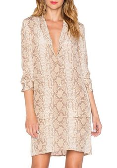 Sexy Shawl Neck Long Sleeve Python Print Shirt Dress For Women
