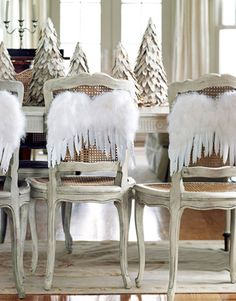 Christmas Chair Covers White Antique Wicker Back Chairs 45 Best Images Ornaments Decorated Silver Decorations Table Settings Crafts Centerpieces
