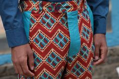 African Print Pants with napal blue leather detail $45 including delivery globally email to order: bianca@punkandivy.com