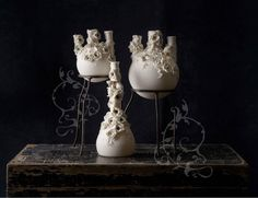 Visit @jrileyceramics at our group stand at Handmade at Kew 12th - 15th October Stand J16 and J19  Jillian draws inspiration from her love of nature especially ravens and magpies an interest in mythology and a passion for things that are a little on the dark side so she has created a collection of bottles with a twist. She takes old poison scientific and apothecary bottles makes moulds and slip cast them in parian or porcelain clay.  Some may be decorated with oxides and waxes and her own…