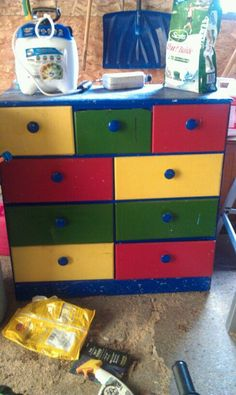 Kids Painted Dresser in My_Online_Yard_Sale_QC Sale in Rock Island , IL for $5.00. Heavily used. I just want it out of the garage. Would work to store crafts/tools/etc. because of the small drawers. As is.