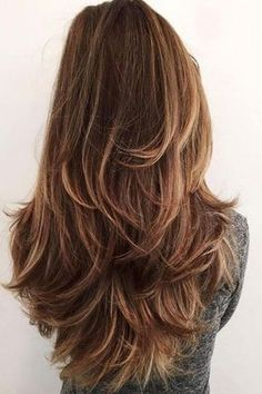 Layered Haircuts: Chocolate Brown Hair with Highlighted Layers Long Face Hairstyles, Trending Hairstyles, Bob Hairstyles, Straight Hairstyles, Layered Hairstyles, School Hairstyles, Elegant Hairstyles, Black Hairstyles, Latest Hairstyles